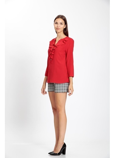 Vitrin V Yaka Volanlı Bluz Kırmızı